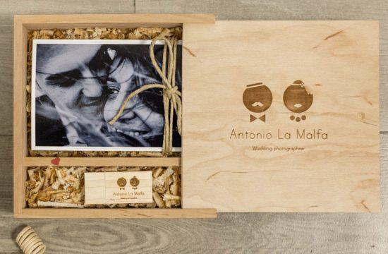Confezione wedding - pen usb sposi con scatola in legno