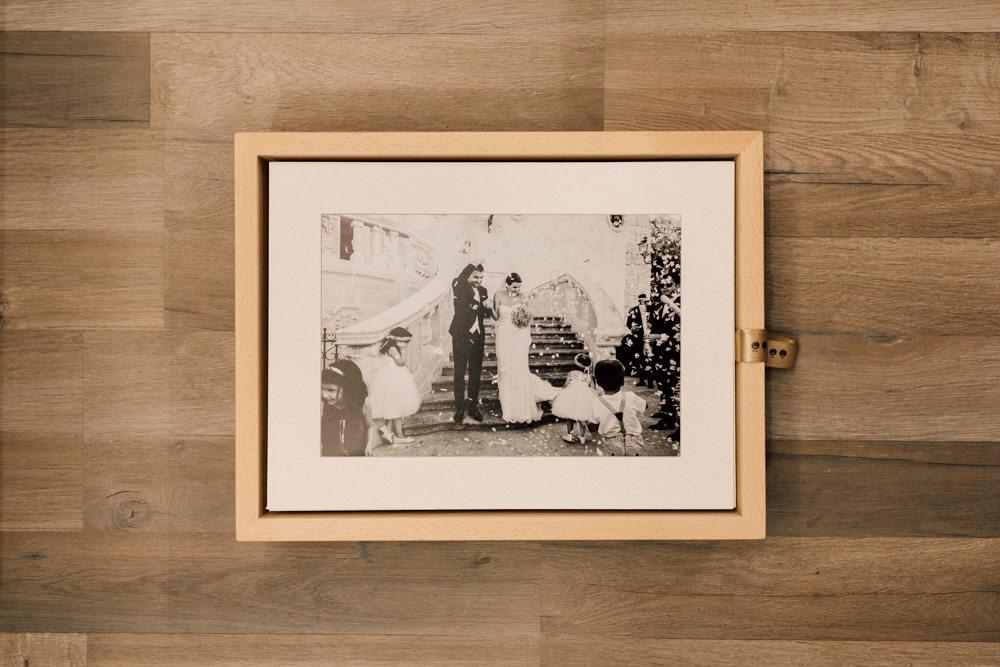 Scatola in legno per foto di matrimonio