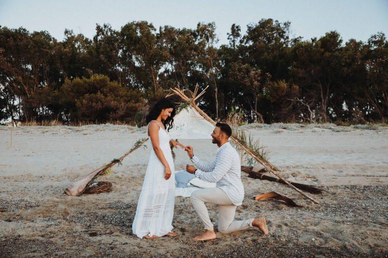 Una proposta di matrimonio al mare